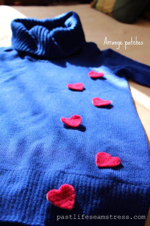 Heart pattern , heart patch, falling hearts, DIY,H & M, handcrafted sweater, women's wear,