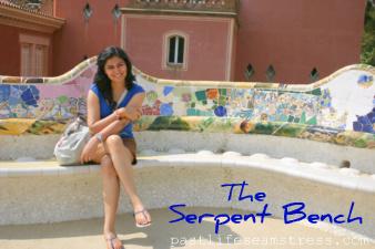 serpent bench, park guell, barcelona, spain, travel, travel photography, mosaic work, design, decor, DIY, gaudi