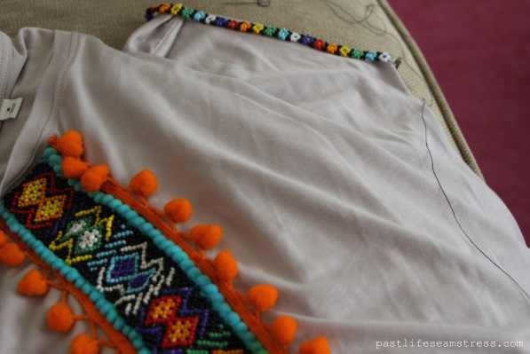 Tribal pattern, DIY Tshirt, craft ideas, handmade beadwork, diy pattern on tshirt, aztec print, aztec jewelry, diy, Ralph Lauren inspiration, Ralph Lauren, Beadwork shirt, Trims, pompom trim diy, pompoms, embellished neck design, neck designs, embellishments
