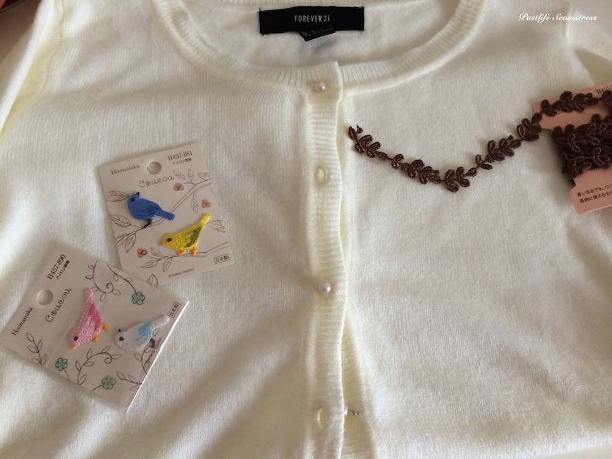 Cardigan refashioning ideas, cardigan embroidery ideas, diy projects, easy diy, easy embroidery, easy refashioning projects, white cardigan ideas, white cardigan forever 21, okadaya tokyo japan,